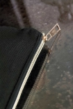 Close-up image of the zip on the Black Cotton Flawless Pouch Make Up Bag