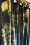 Close-up of the Grape Vine Velvet Curtain Panel on a curtain rail