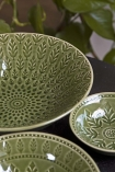 Image showing the bowls from the Moss Green Fern Leaf Design range