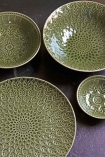 Image showing the bowls & the plates from the Moss Green Fern Leaf Design range