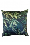 cutout Image of the Green Jungle Leaf Velvet Cushion on a white background