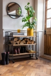 Angled lifestyle of the Metal & Wood Industrial Style Shelf Storage on Castors
