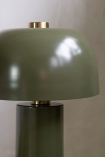 Close-up image of the shade on the Khaki Green Retro Cylinder Table Lamp
