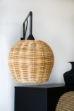 Front on image of the Large Directional Wall Light with Sphere Wicker Shade
