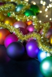 Close-up image of the baubles on the Large Rainbow Baubles & Tinsel Garland