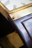Close-up image of the construction of the Spectacular Leather Watch Side Table / Stool