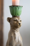 Close-up of the head of the Serene Leopard Candle Holder