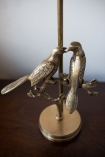Close-up image of the birds on the Love Birds Table Lamp With Charcoal Lamp Shade