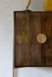 Close-up image of the door on the Large Retro Mango Wood & Gold Bar Cabinet