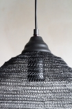 Image of the top of the Black Noir Beehive Metal Mesh Pendant Light