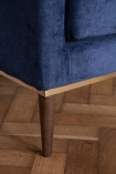 Close-up image of the legs on the Midnight Blue Danish Design 3 Seater Sofa