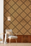 Lifestyle image of the NLXL Framed Webbing Wallpaper by Mr & Mrs Vintage with oak panel