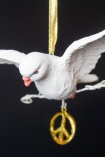 Close-up image of the Peace Dove Hanging Christmas Decoration