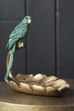 Side angle image of the Emerald Green Parrot Perched On A Leaf Ornament