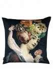 cutout image of the Quirky lady with floral headdress and cockatoo black velvet cushion on a white background