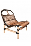 Image of the Black & Natural Beautiful Rattan Lounge Chair on a white background
