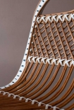 Close-up image of the detail on the White & Natural Beautiful Rattan Lounge Chair