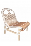 Image of the White & Natural Beautiful Rattan Lounge Chair on a white background