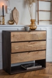 Angled lifestyle image of the Raw Rustic Style Chest Of Drawers