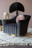 Lifestyle Image of the Ribbed Charcoal Velvet Tub Armchair