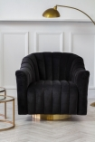 Forward facing image of the Ribbed Charcoal Velvet Tub Armchair