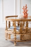 Close-up lifestyle image of the Round Bamboo Coffee Table
