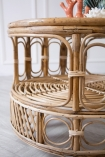 Close-up image of the middle / shelf section of the Round Bamboo Coffee Table