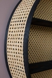 Close-up of the Round Woven Cane Rattan Shelf Unit