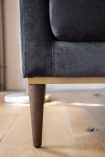 Close-up image of the legs on the Slate Grey Danish Design 3 Seater Sofa