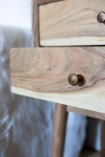 Close-up image of the drawers on the Solid Acacia Wood Bedside Table