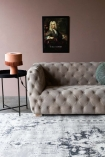 Lifestyle image of the left side of the Stone Grey Suede Buttoned 2 Seater Sofa