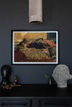 Lifestyle image of the Framed Too Magical Art Print on a dark wall