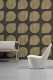 Lifestyle image of the Grey NLXL Vintage Drops Webbing Wallpaper by Studio Roderick Vos