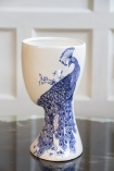 Right side image of the White & Blue Ceramic Oriental Peacock Vase