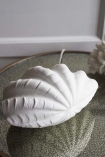 Lifestyle image of the back of the Porcelain Clam Shell Table Lamp