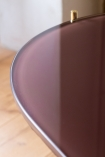 Close-up image of the table top on the Wine Red Oval Marble & Brass Coffee Table
