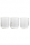 cutout Image of all 3 recycled glass water tumblers on a white background