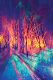 detail image of Elli Popp A Forest Into The Trees Wallpaper - Night purple yellow and blue bright tree scene