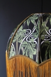 detail image of Anna Hayman Designs DecoFabulous Green Dianne Pendant Shade with dark grey wall background