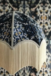 detail image of pattern on Anna Hayman Designs Siouxsie Lamp Shade with matching wallpaper background