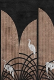 Close-up detail image of the Art Deco Wallpaper Mural - Tassel Coal white storks on nude striped and coal background