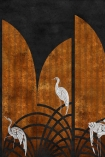 Close-up detail image of the Art Deco Wallpaper Mural - Tassel Ginger white storks on rust striped and navy background