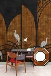 Lifestyle image of the Art Deco Wallpaper Mural - Tassel Ginger