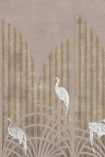 Close-up detail image of the Art Deco Wallpaper Mural - Tassel Rose Pink white storks with gold striped and dusty pink background