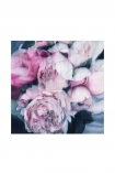 "cutout Image of the Unframed Art Print by Amy Carter ""Summer Rain"" on a white background pink roses on blue background"