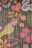 Close-up of the pattern on the Birds & Flowers Bamboo Door Curtain