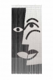 Image of the Black & White Design Bamboo Door Curtain on a white background