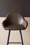detail image of seat on Faux Leather Bar Stool With Zig Zag Stitching - Brown with contrasting wall background