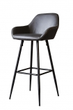 cutout image of Faux Leather Bar Stool With Zig Zag Stitching - Charcoal Grey on white background