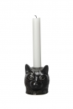 cutout Image of the Black Cat Candle Holder with white candle inside on a white background